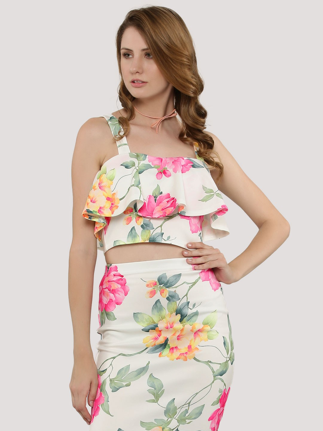 NOBODY'S CHILD Floral Print Ruffle Crop Top