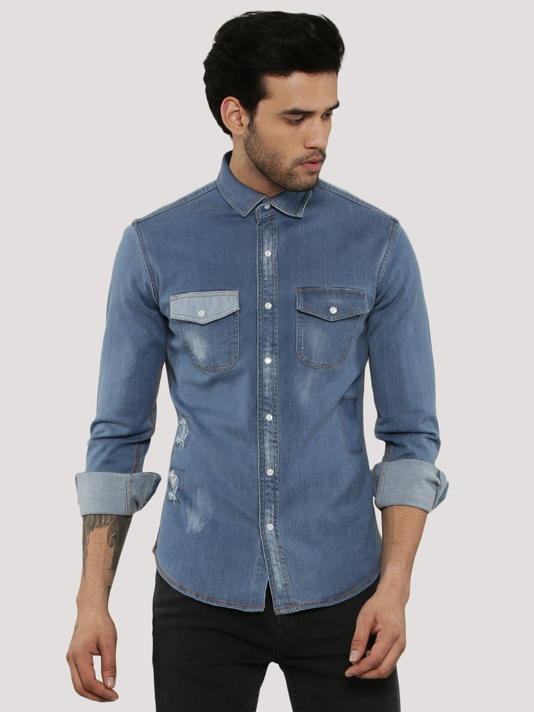 Mens Denim Shirts A go-to for quintessential casual, denim exudes an effortless ease with laid-back appeal. Put together an easy look with our selection of denim shirts for men.