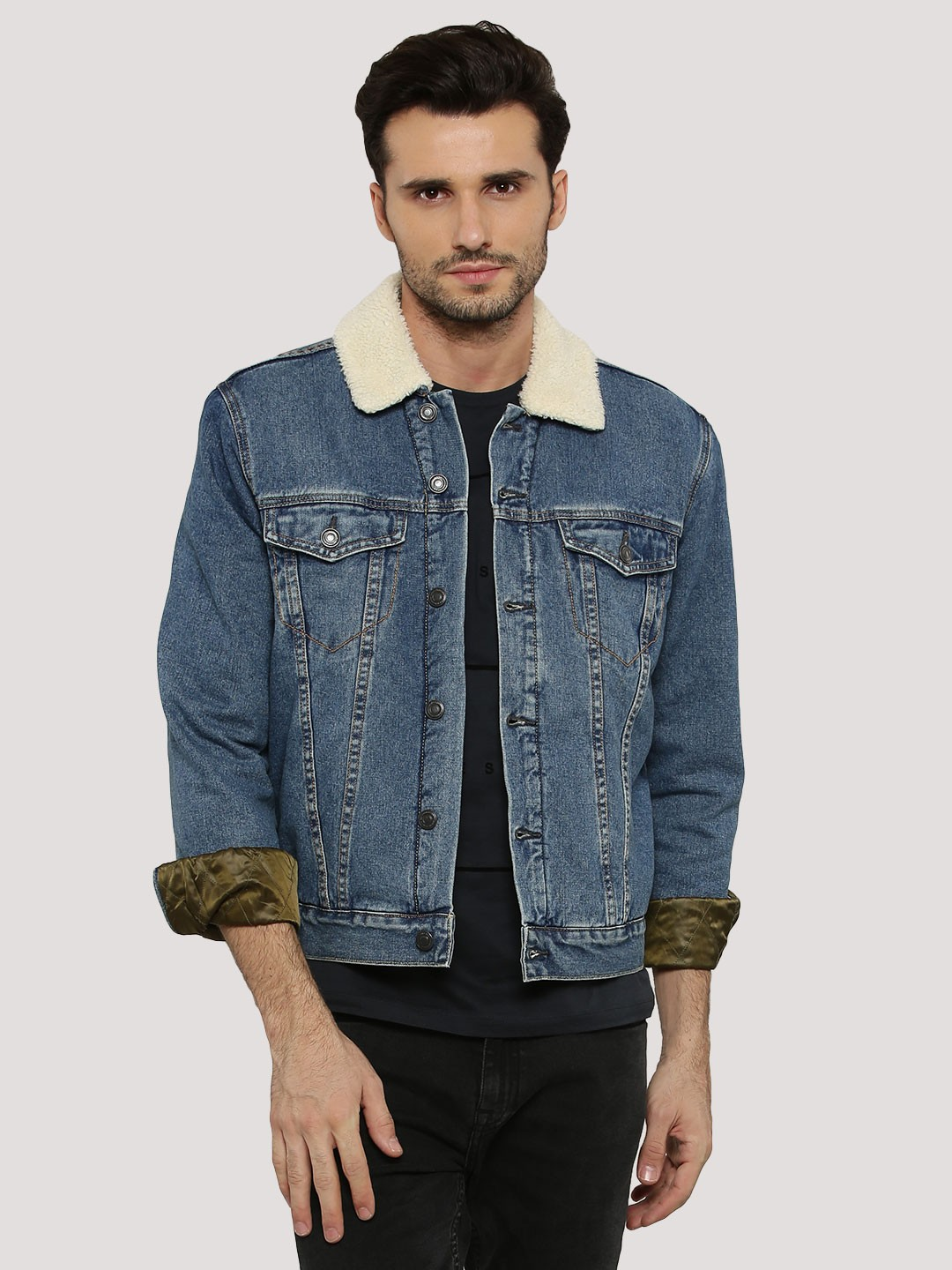 Discover the range of men's denim jackets from ASOS. Shop from a variety of colours and styles, from vintage to oversized denim jackets. Shop now at ASOS. Burton Menswear denim jacket with borg collar in dark blue wash. £ New Look borg lined denim jacket in washed black. £ New Look borg lined denim jacket in blue.