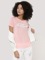 EVAH LONDON  T-Shirt With Front & Back Print With Lip Patch