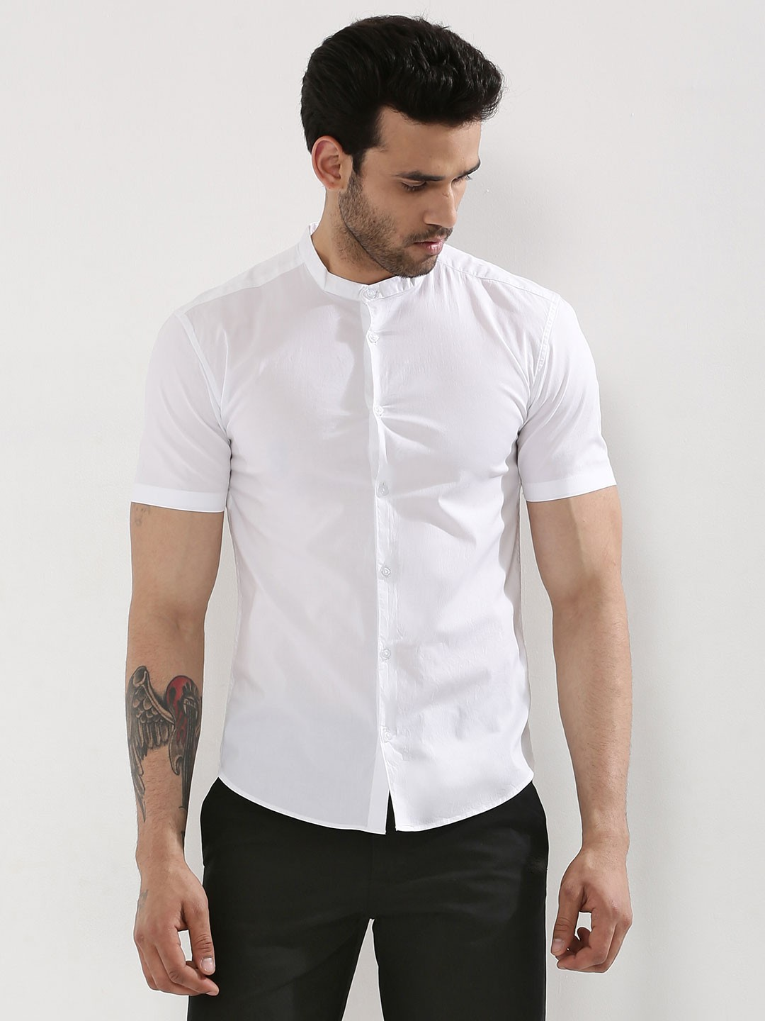 Buy koovs grandad collar short sleeve shirt for men men for Short sleeve grandad shirt
