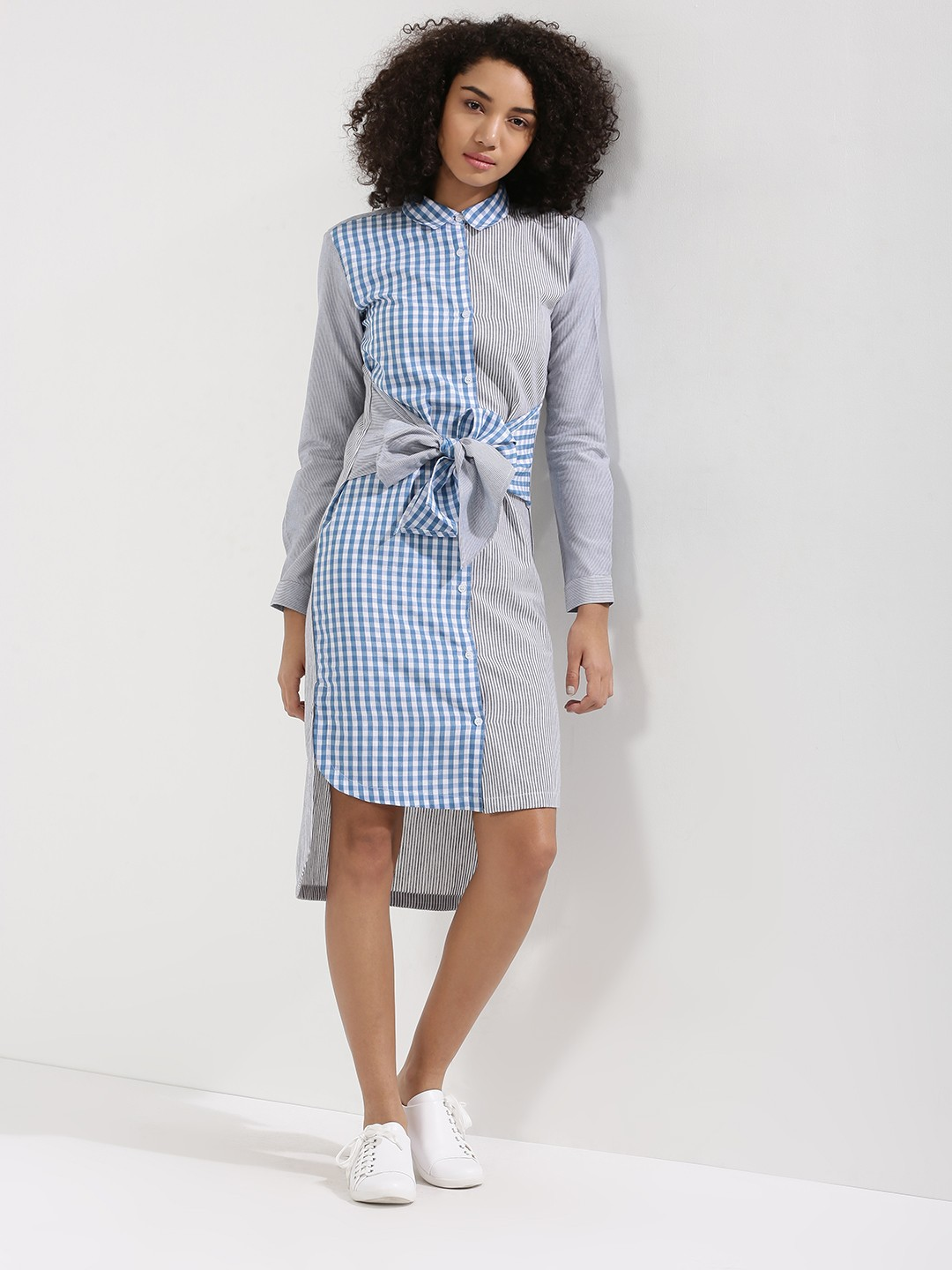Buy Koovs Cut About Stripe Tie Waist Shirt Dress For Women