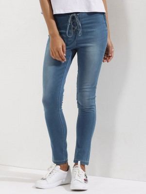 KOOVS  Lace Up Low-rise Skinny Jeans