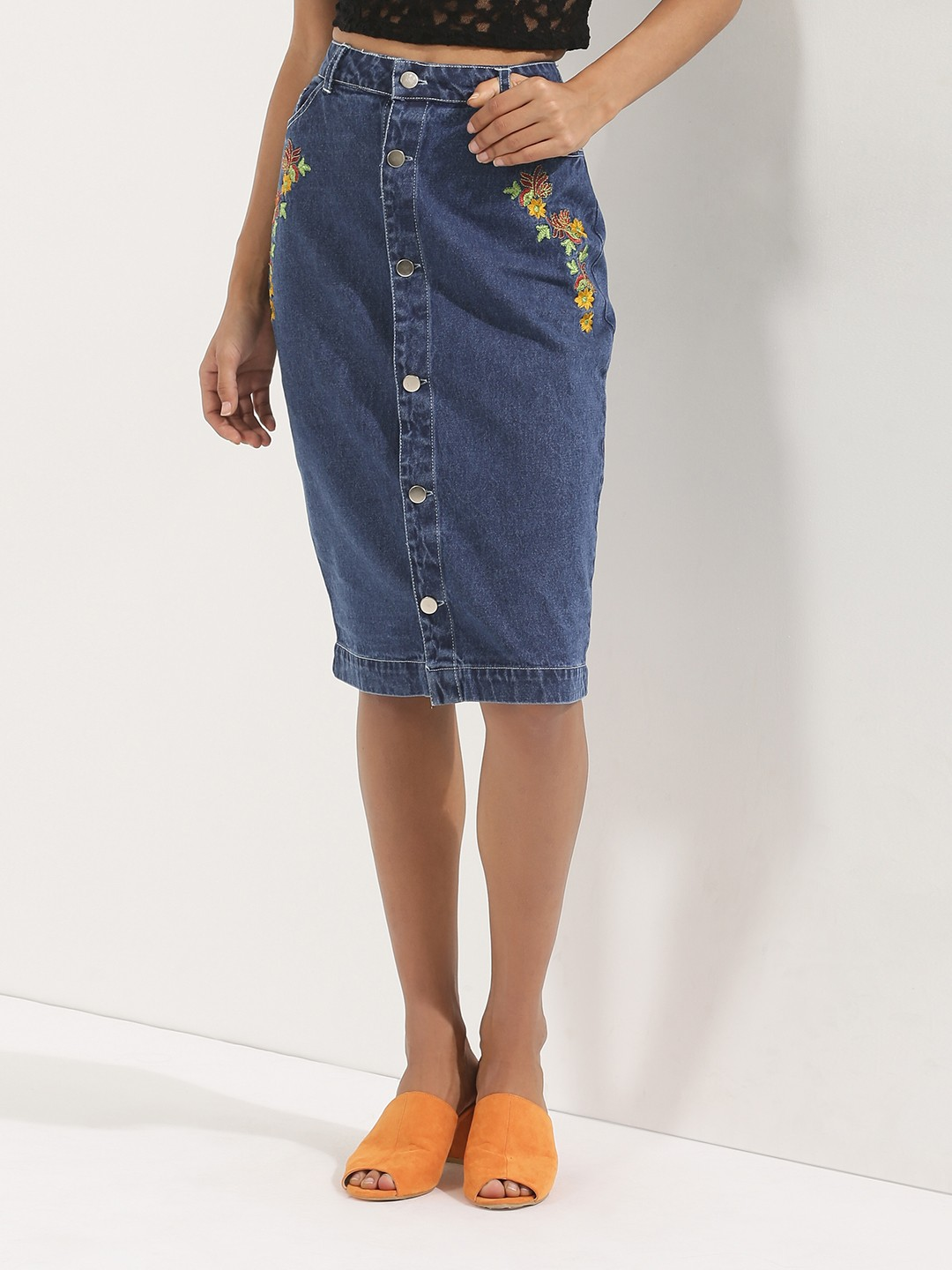 Buy KOOVS Embroidered Button Through Denim Skirt For Women ...