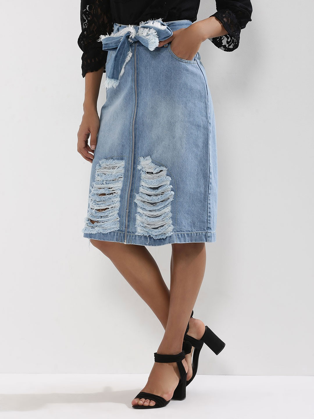 Buy KOOVS Distressed Zip Through Denim Skirt For Women - Women's ...