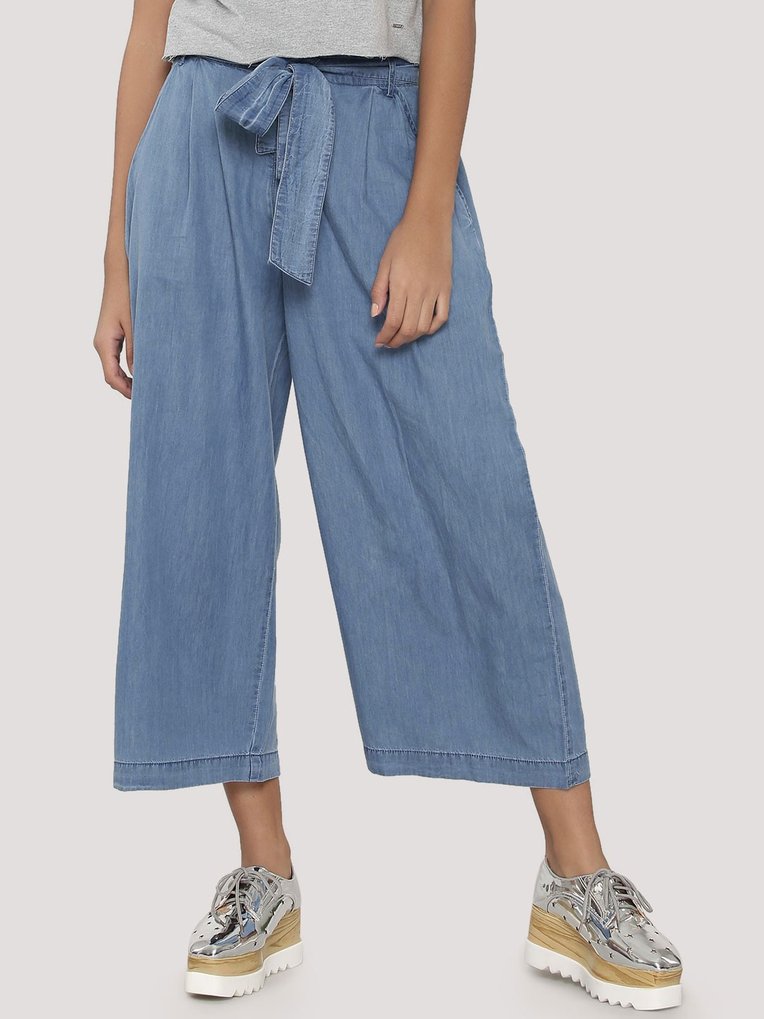 Buy KOOVS Tie Waist Denim Culottes For Women