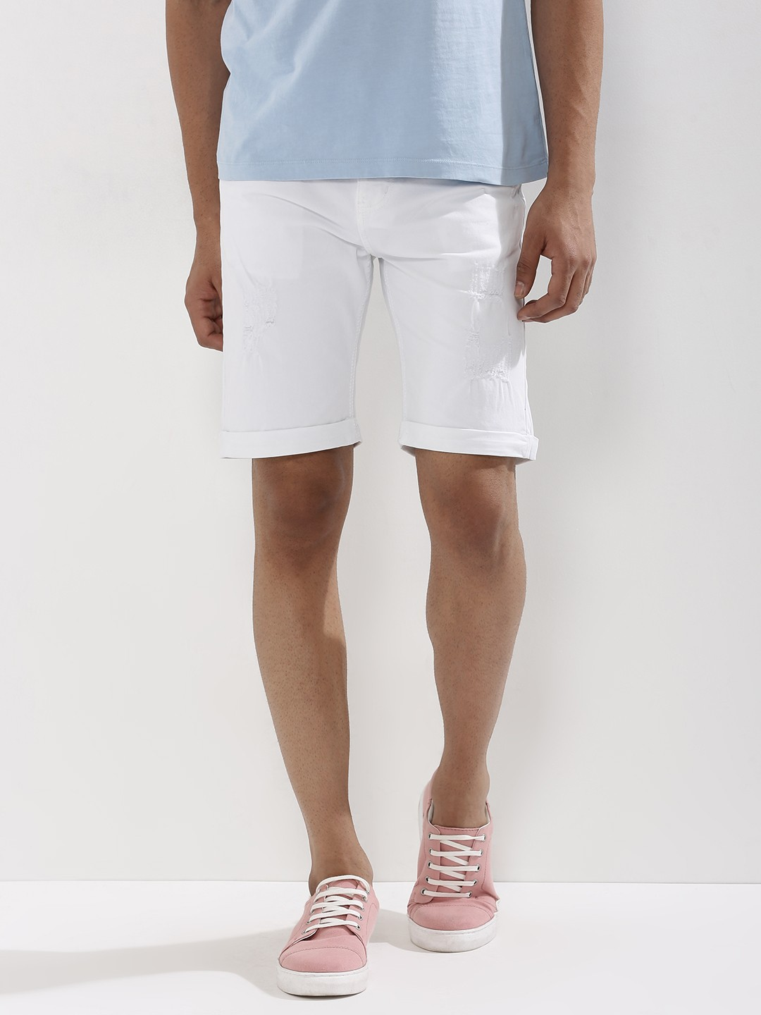 Buy KOOVS Ripped Slim Fit Shorts For Men - Men's White Shorts ...