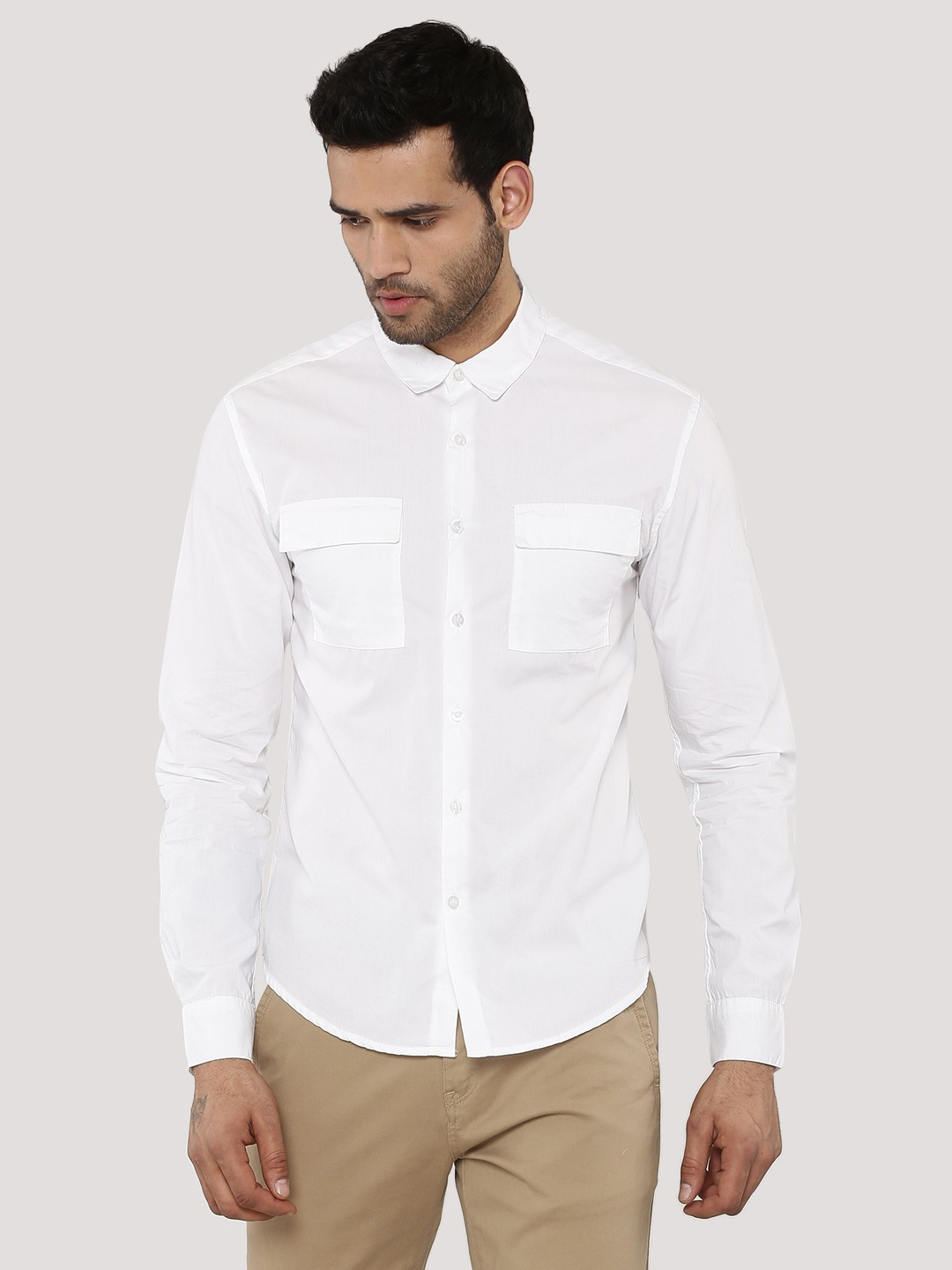 buy koovs multi pocket shirt for men men 39 s off white