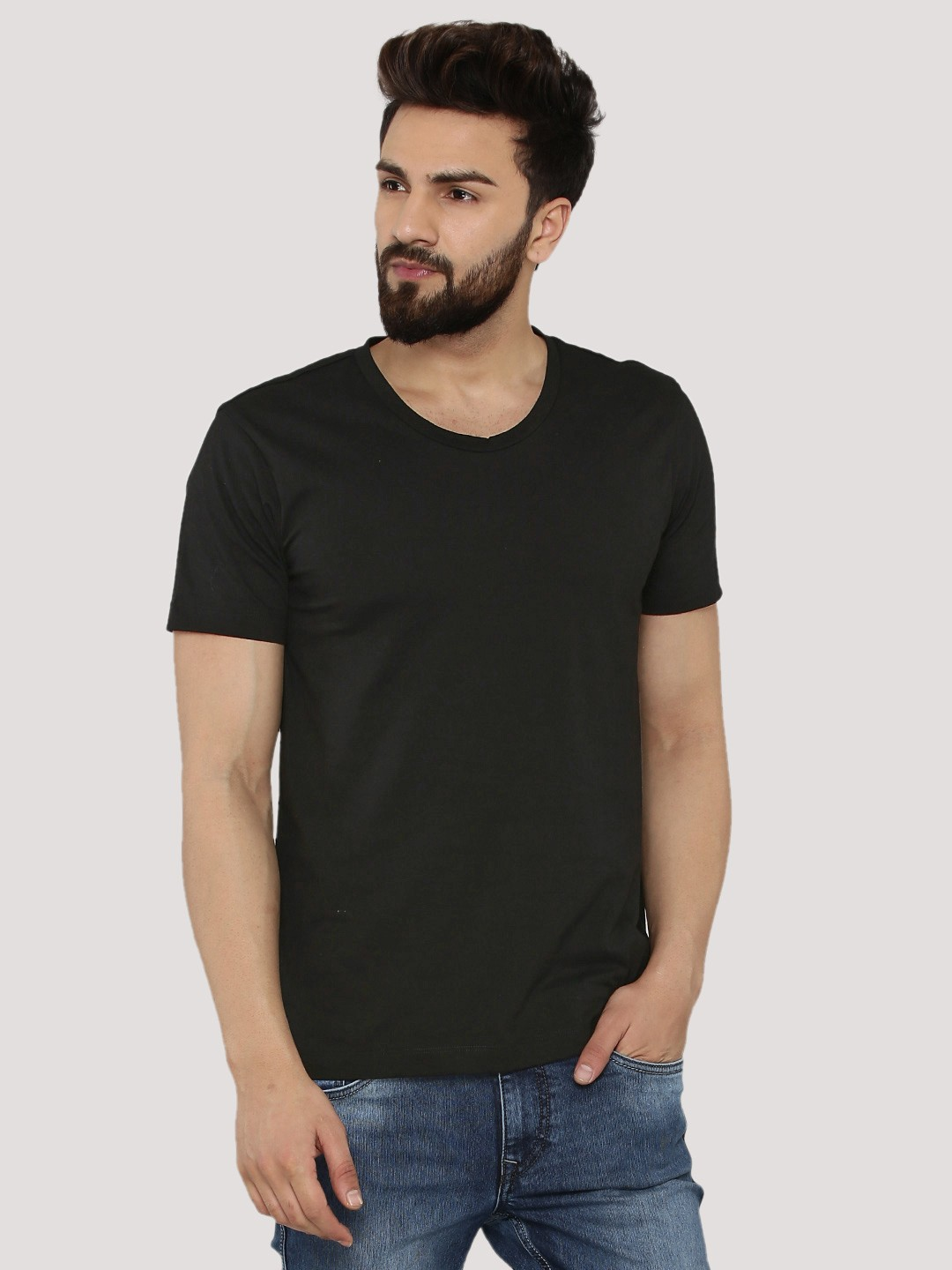Black t shirt man - Koovs Scoop Neck T Shirt