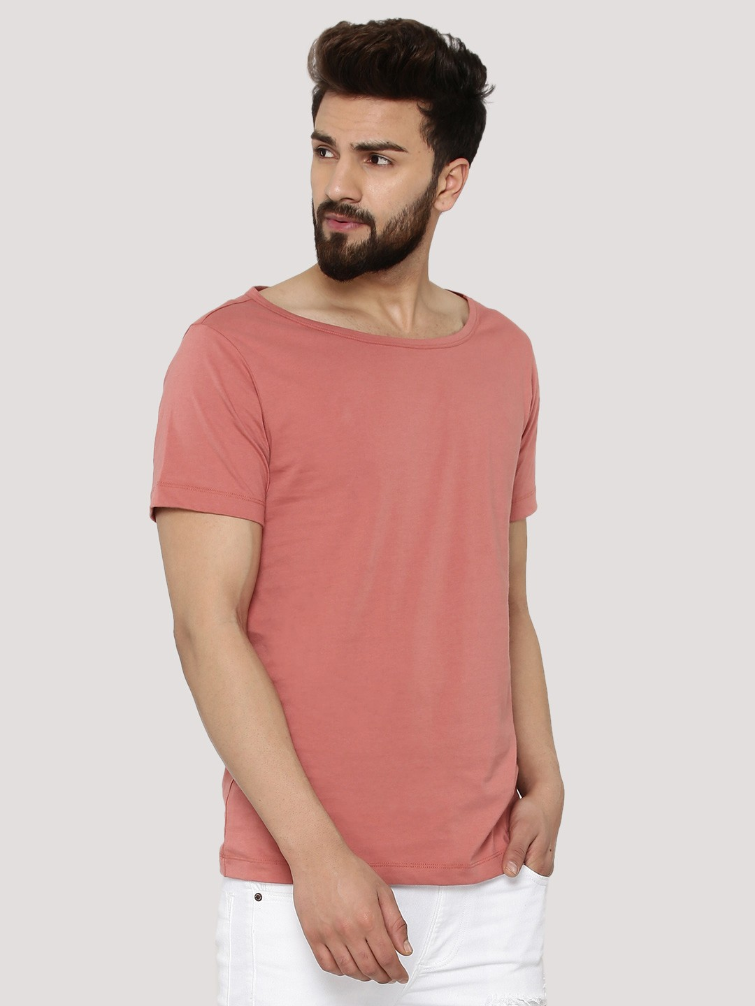 Buy koovs boat neck t shirt for men men 39 s pink t shirts for Tahari t shirt mens