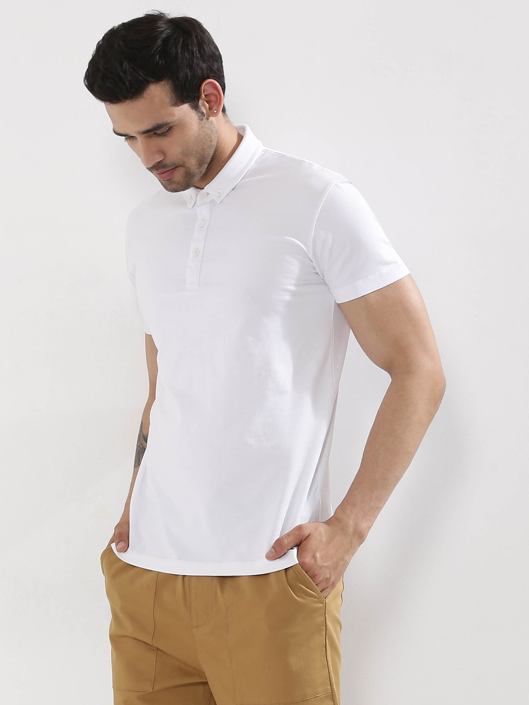 Buy koovs button down polo shirt for men men 39 s white for Where to buy button down shirts
