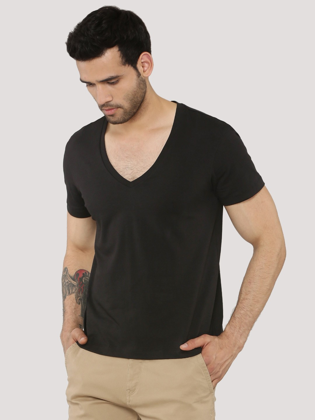 Buy KOOVS Deep V-Neck Muscle Fit T-Shirt For Men - Men's Black T ...