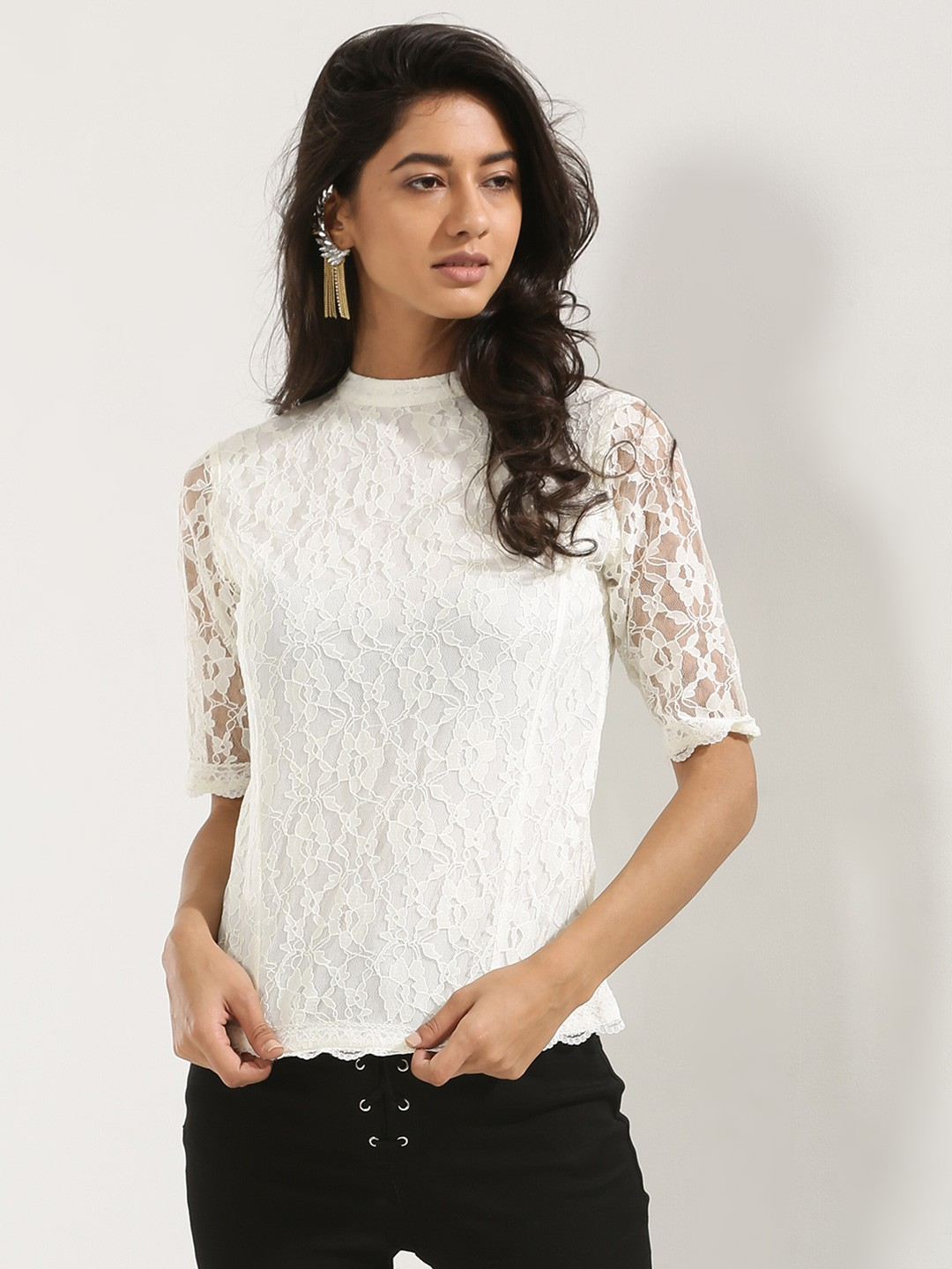 Buy KOOVS High Neck Scallop Hem Lace Top In The Style Of