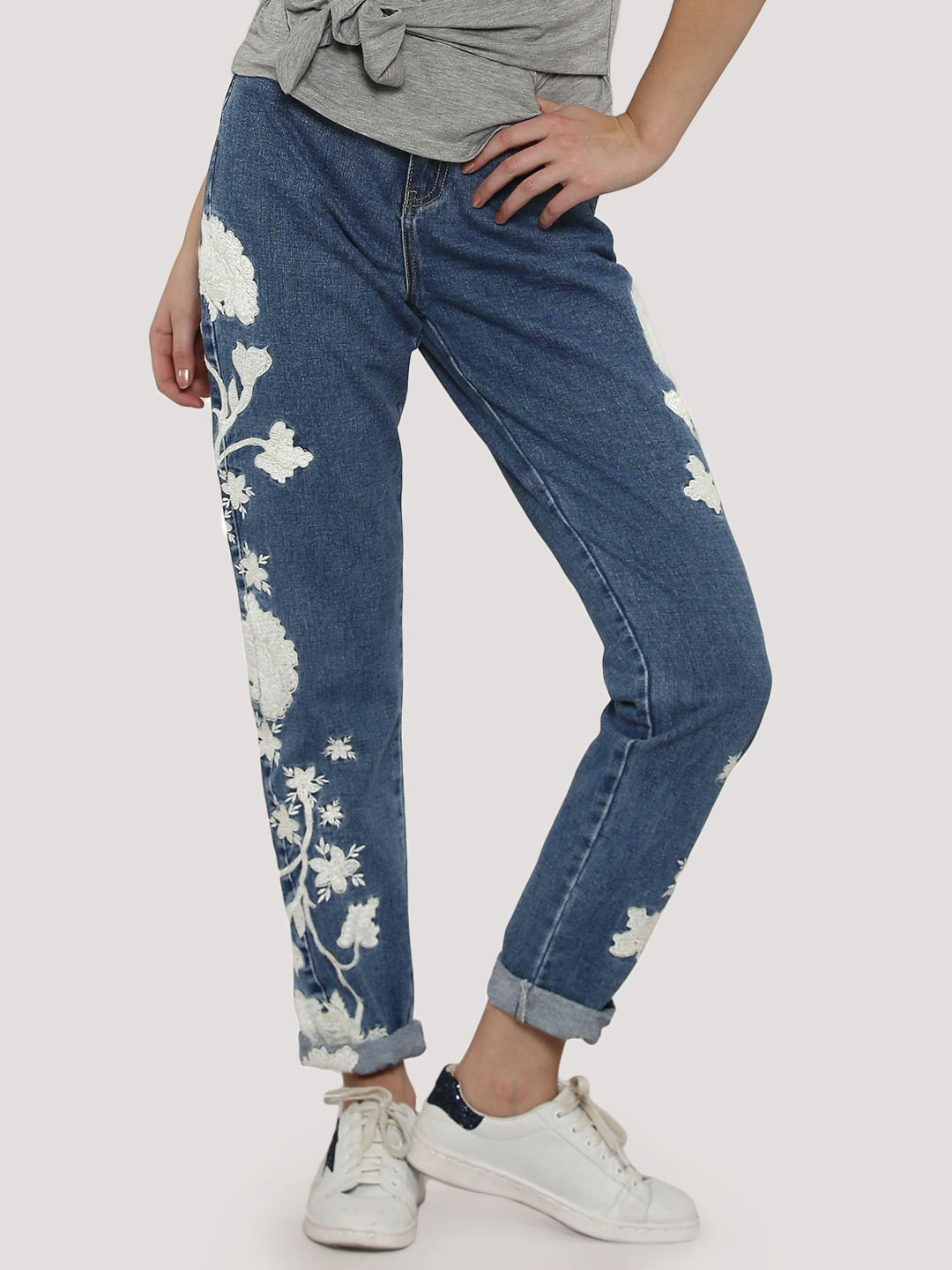 Buy glamorous floral embroidered jeans for women s
