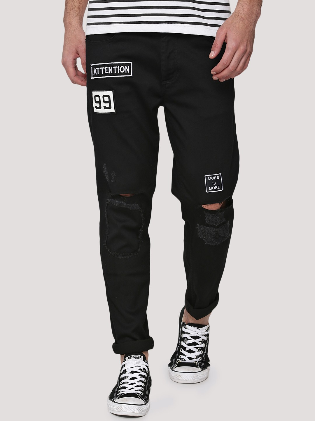 Buy ADAMO LONDON Knee Rip Skinny Jeans With Patches For Men ...