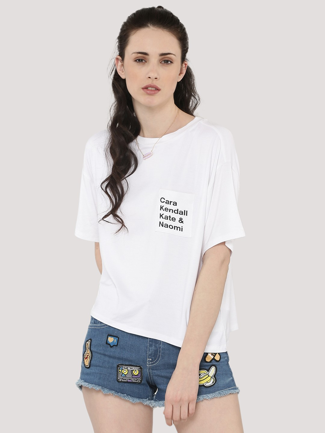 White t shirt for womens - Koovs Text Patch Print T Shirt