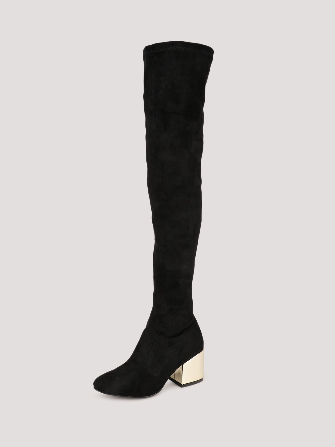 Buy Velvet Army Long Boots With Gold Heels For Women