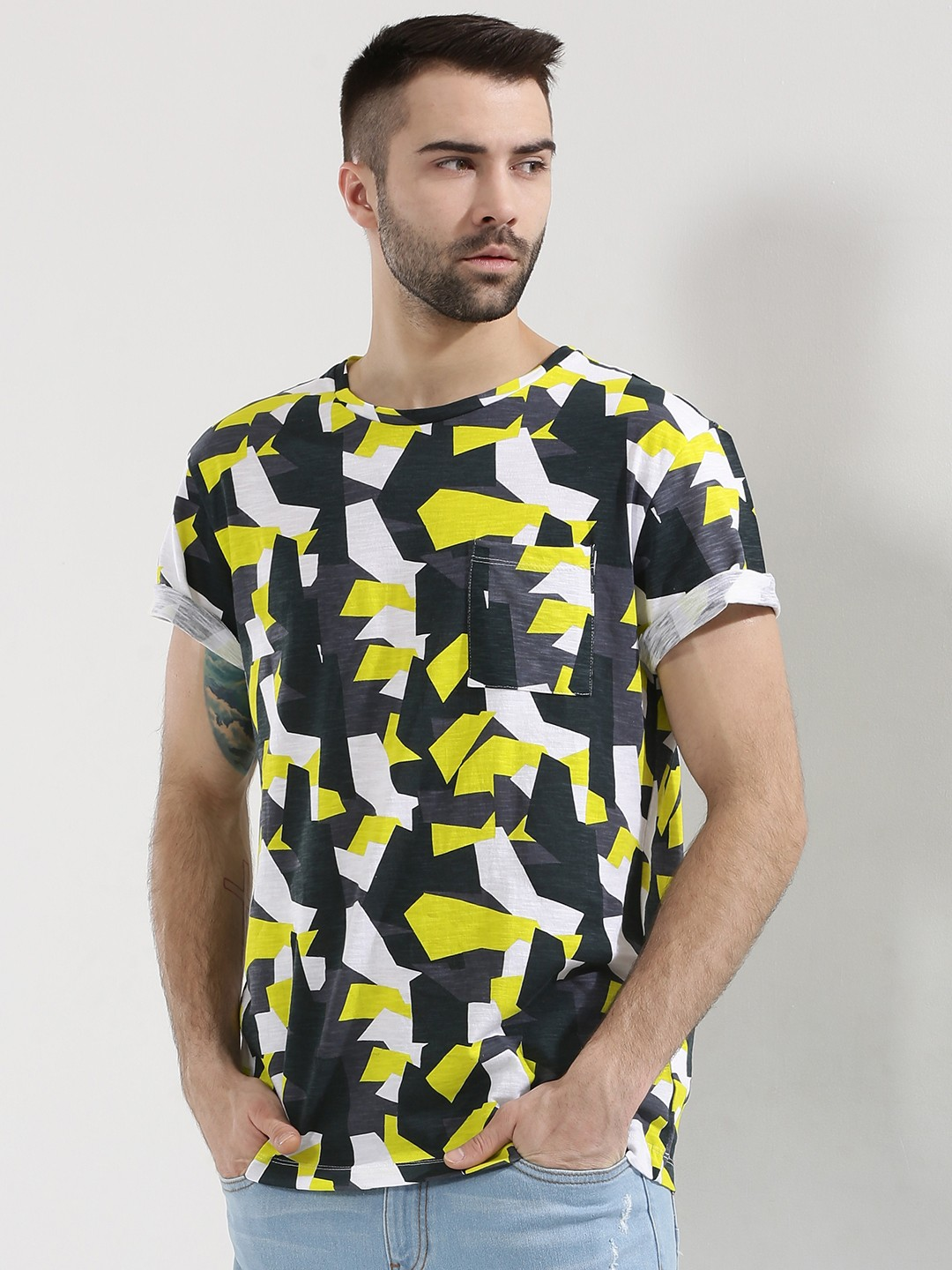 Buy koovs printed t shirt for men men 39 s multi t shirts for Couple printed t shirts india