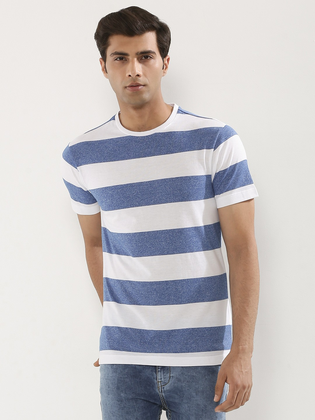 buy koovs breton stripe t shirt for men men 39 s blue multi. Black Bedroom Furniture Sets. Home Design Ideas