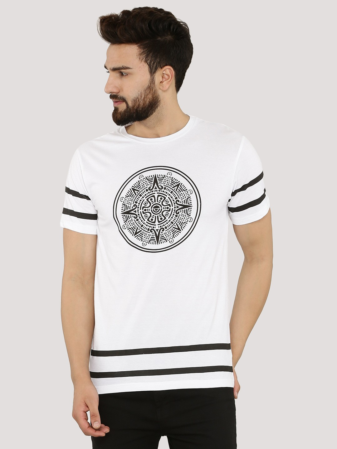 Buy styx stones printed t shirt with stripes for men for Printed t shirts india