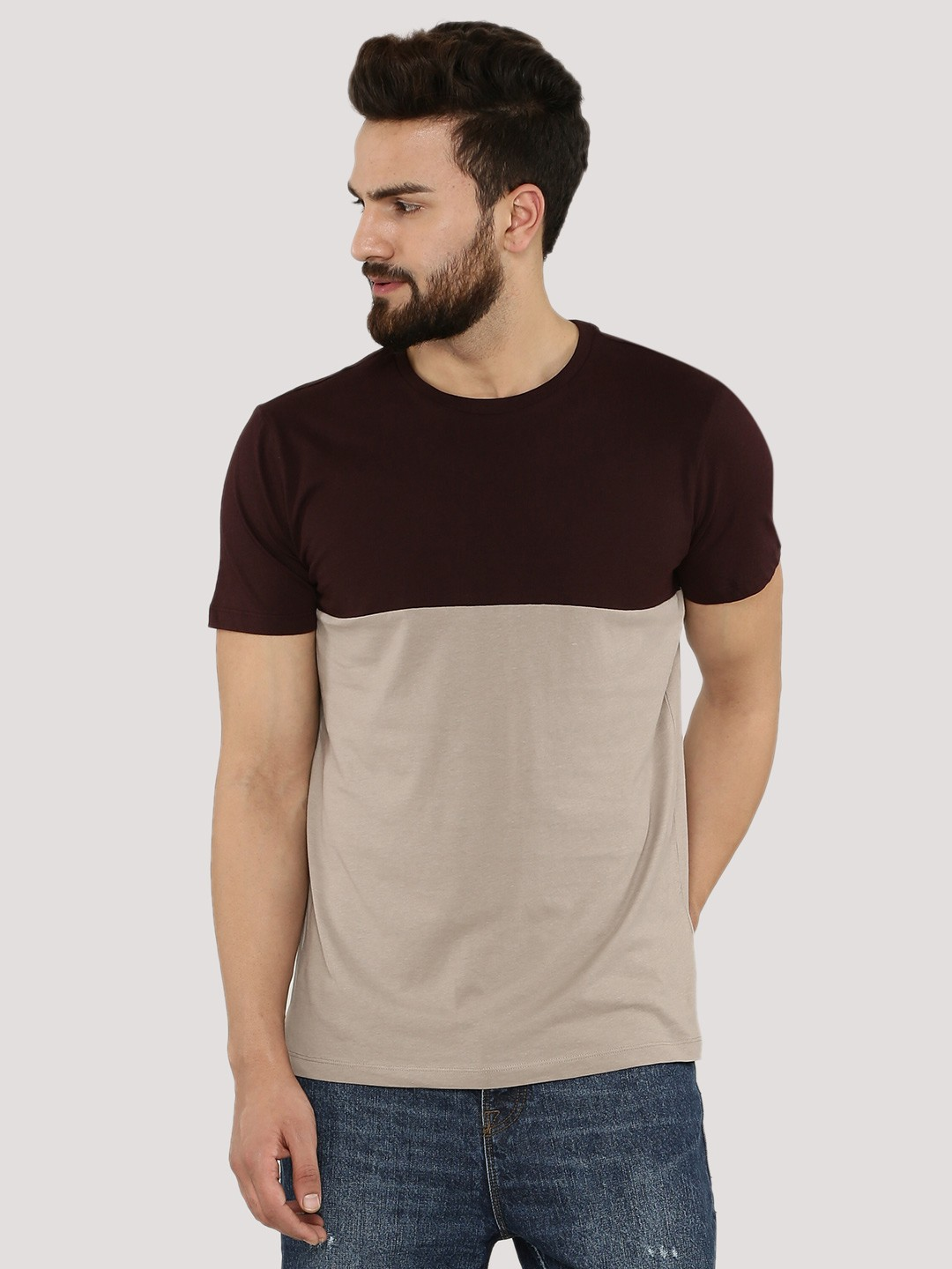 Buy NEW LOOK Colour Blocked T-Shirt For Men - Men's Purple/Red T ...
