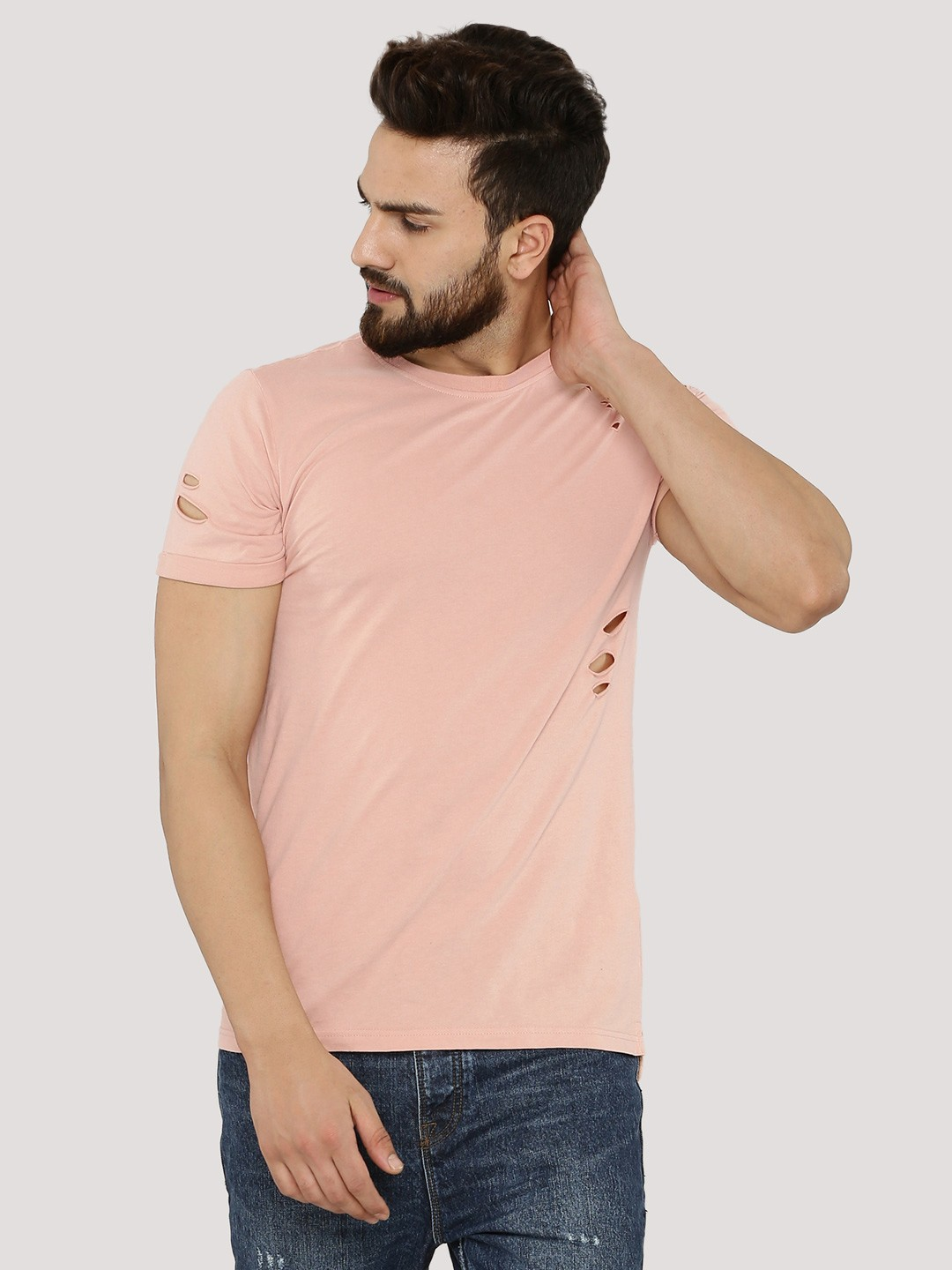 Buy NEW LOOK Step Hem T-Shirt With Rips For Men - Men's Pink T ...
