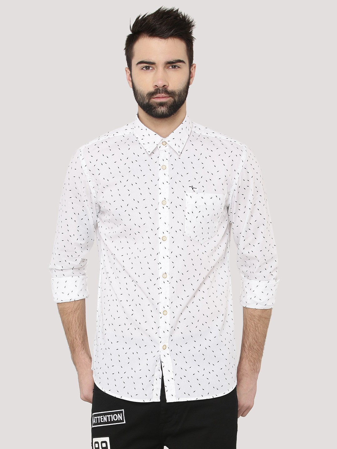 Buy FLYING MACHINE Lightning Print Shirt For Men - Men's White ...