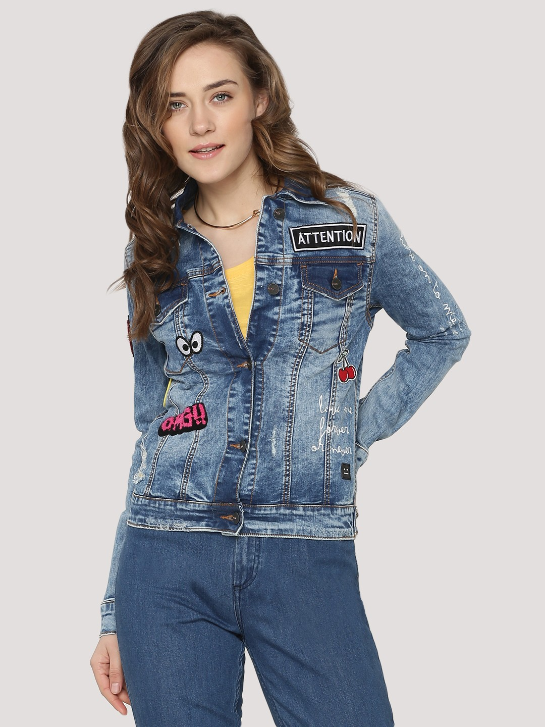 Buy EVAH LONDON Denim Jacket With Print And Patches For Women ...