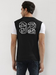 BLOTCH  98 Back Print T-Shirt With Contrast Sleeves