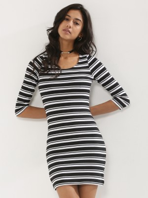 SBUYS  Stripe Dress With 3/4 Sleeves