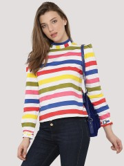 BLUE SAINT  Stripe Printed Top With Turtle Neck