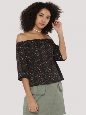 BLUE SAINT  Off Shoulder Top With All Over Print