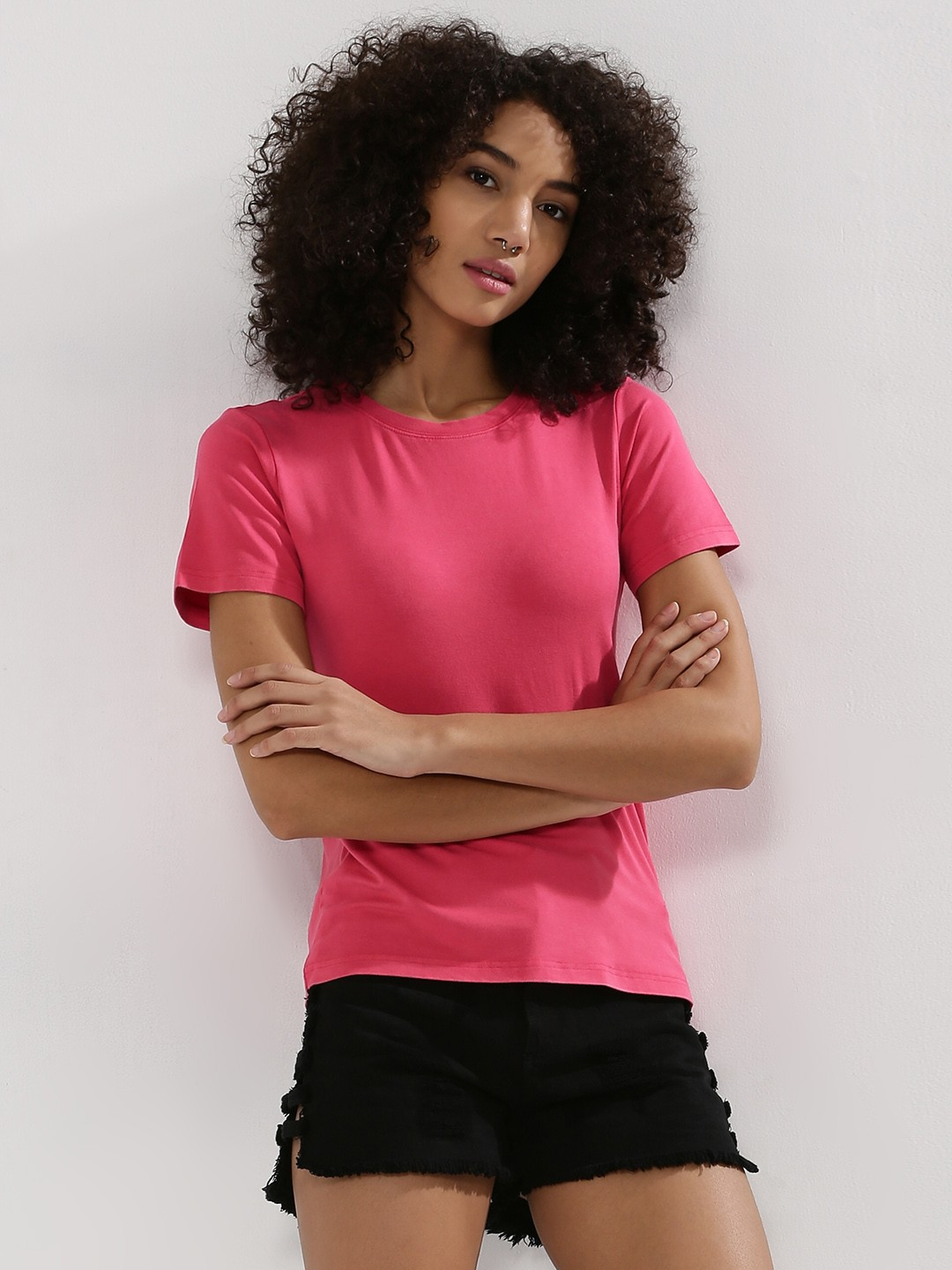 Buy KOOVS Round Neck T-Shirt For Women - Women's Pink T-shirts ...