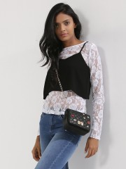 KOOVS  2-in-1 Cami Lace Top