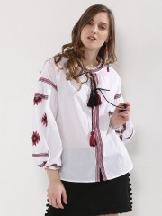 RENA LOVE  Embroidered Front Tie Up Balloon Slevees Top