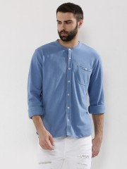 GARCON  Band Collar Knitted Shirt With Pocket - 89337_2_10710