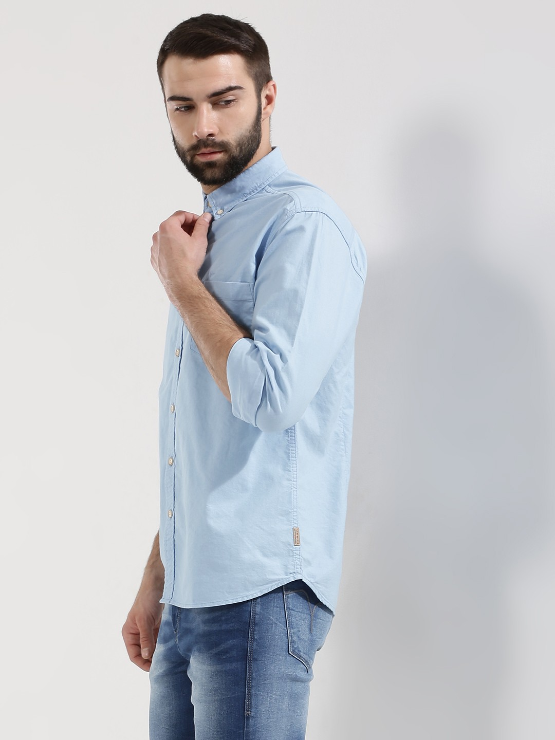 ... Down Oxford Shirt For Men - Men's Blue Casual Shirts Online in India