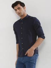 F2000 BY FLYING MACHINE  Indigo Dyed Shirt With Band Collar