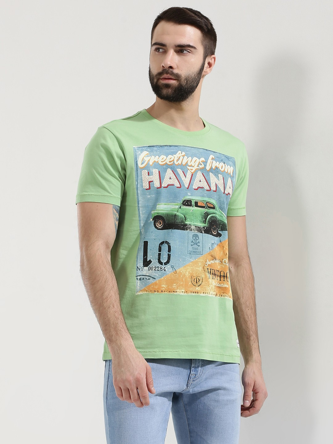 Buy flying machine havana graphic printed t shirt for men for Printed t shirts india