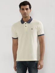 FLYING MACHINE  Knitted Polo Shirt With Contrast Sleeves