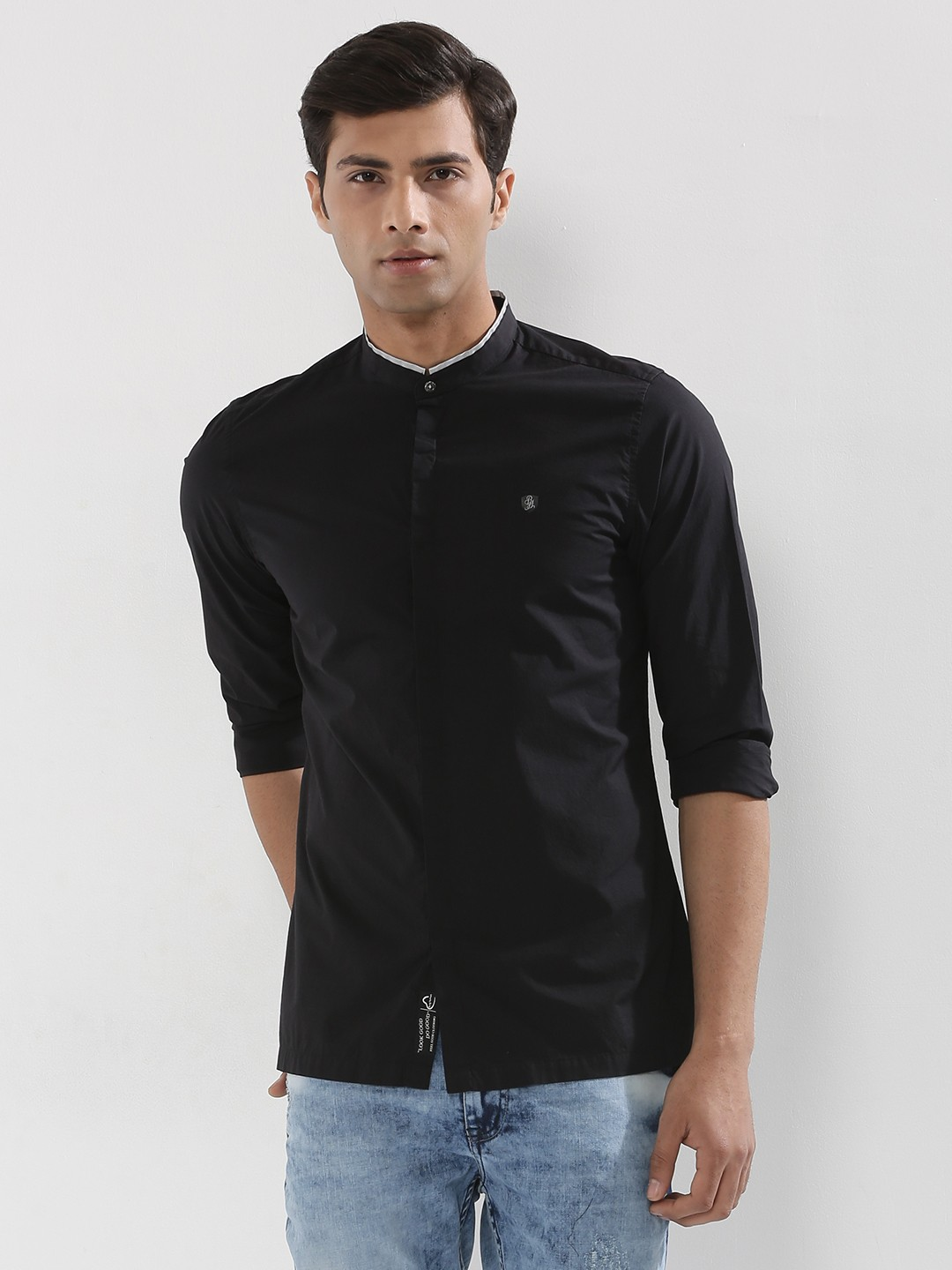 Black t shirt collar - Being Human Shirt With Reflective Collar Line
