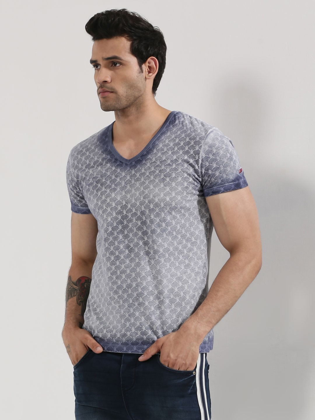 Buy being human oil washed printed v neck t shirt for men for Being human t shirts buy online india