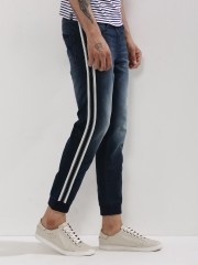 BEING HUMAN  Denim Joggers With Side Stripe