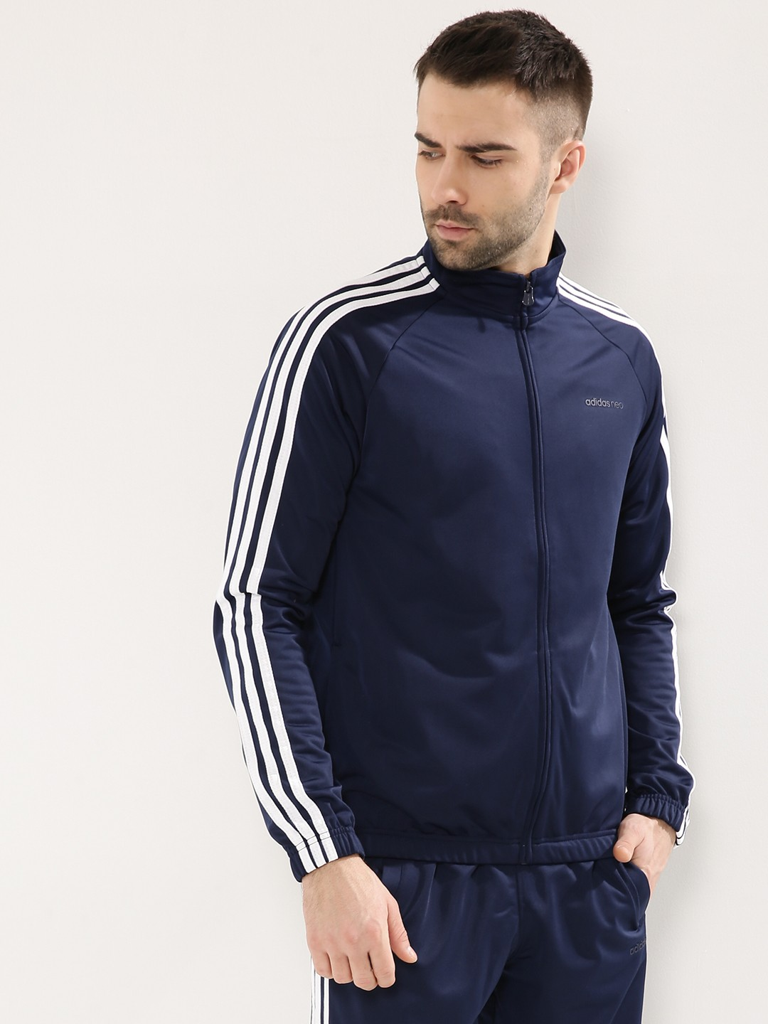 buy adidas neo track jacket with striped sleeves for men. Black Bedroom Furniture Sets. Home Design Ideas