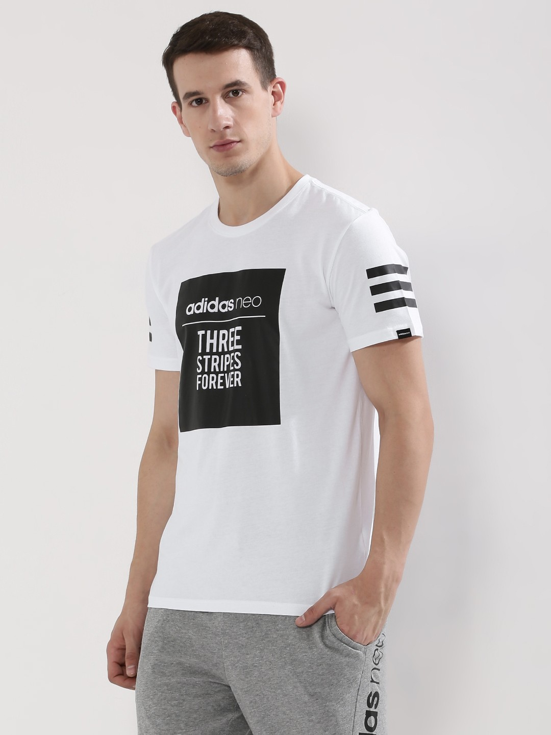 Buy ADIDAS NEO Contrast Box Slogan T-Shirt With Sleeve ...