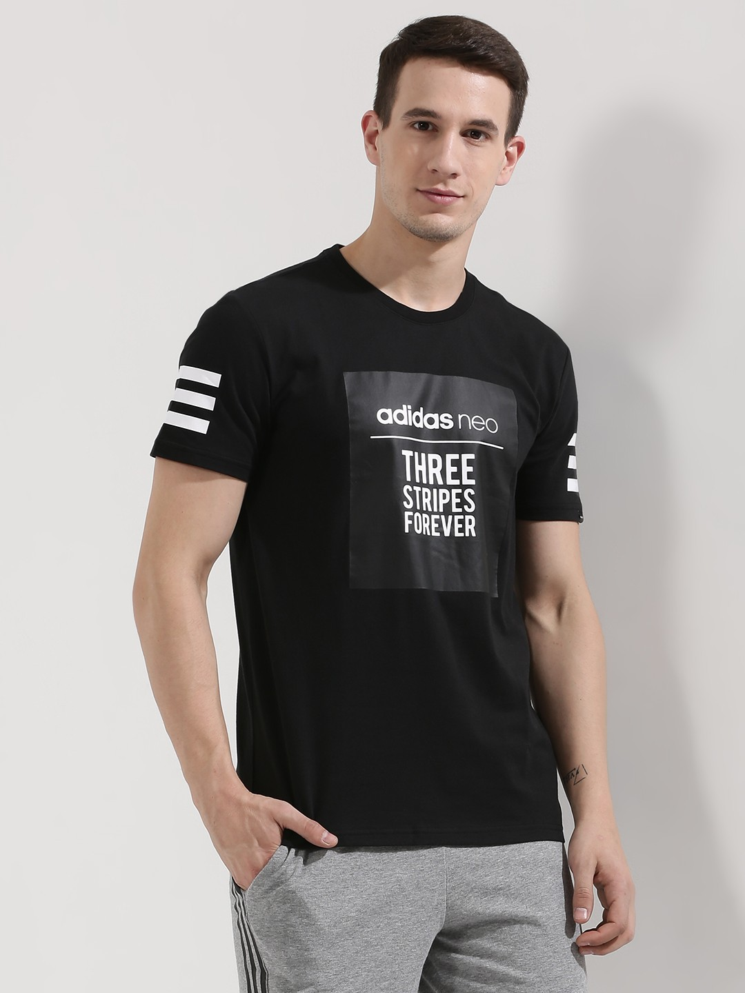 Buy ADIDAS NEO Box Slogan T-Shirt With Sleeve Stripe For ...