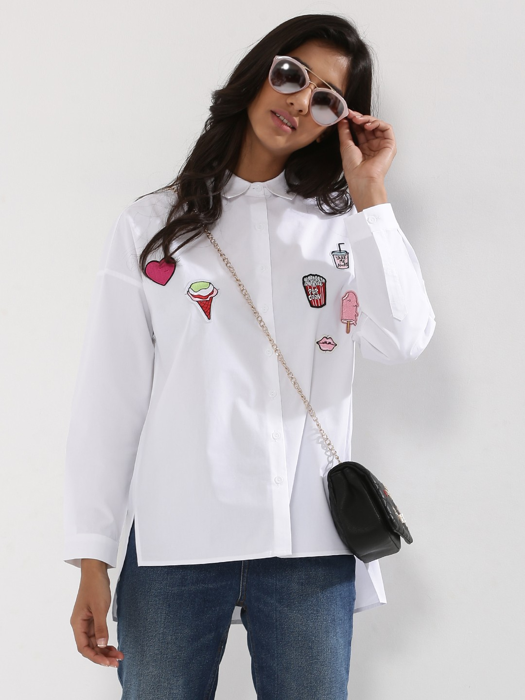 Buy GLAMOROUS Patch Work Shirt For Women - Women's White Shirts ...
