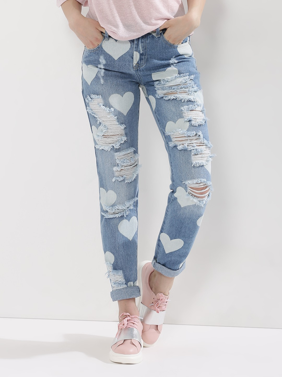 Buy GLAMOROUS Heart Print Distressed Jeans For Women - Women's ...