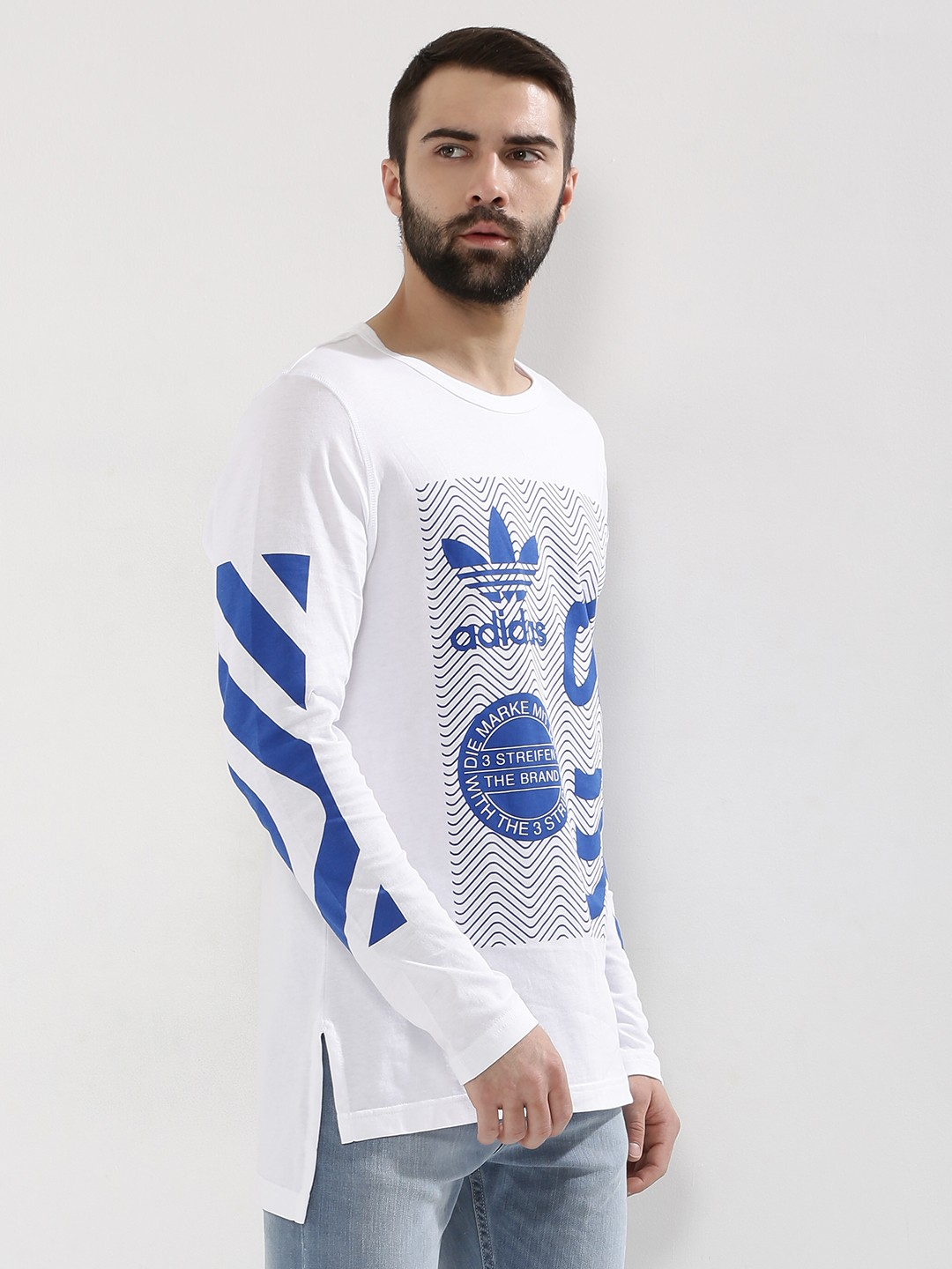 Buy ADIDAS ORIGINALS Logo Printed Step Hem T-Shirt In Long Sleeves ...