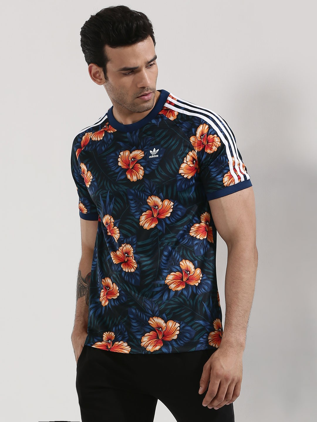 Buy adidas originals floral jersey with sleeve stripe for for Floral mens t shirts